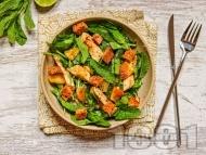 Зелена салата с пилешки гърди, ананас и дресинг с лайм, мед и джинджифил